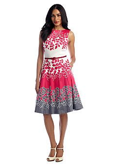 Maggy London Belted Fit and Flare Dress