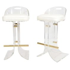 Pair of Charles Hollis Jones Lucite Bar Stools | From a unique collection of antique and modern stools at http://www.1stdibs.com/furniture/seating/stools/