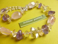 GEMSTONE Pastel Necklace.  Rose Quartz, Rock Crystal, Natural Amethyst, Seed Pearls  by NickibearJewellery  So Girly!