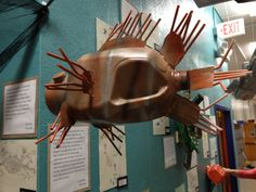 invasive species, Lionfish, from milk jug and other reused materials (4th grade exhibit)