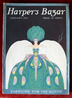 """Kittyinva: January, 1922 cover of """"Harper's Bazar"""". Vintage Magazines, Vintage Postcards, Erte Art, Art Deco Dress, Art Deco Movement, Illustration Art, Illustrations, Magazine Art, Magazine Covers"""
