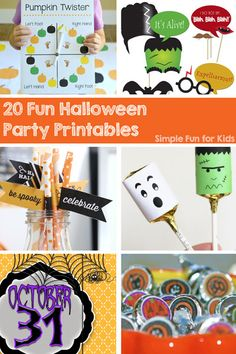 Are you hosting a Halloween party this year? Are you running out of time and need last-minute ideas? Check out these 20 Fun Halloween Party Printables for everything you need! Fun Activities For Preschoolers, Halloween Activities For Kids, Printable Activities For Kids, Halloween Crafts For Kids, Party Printables, Halloween Party, Halloween Photo Booth Props, Halloween Bottle Labels, Halloween Cupcake Toppers