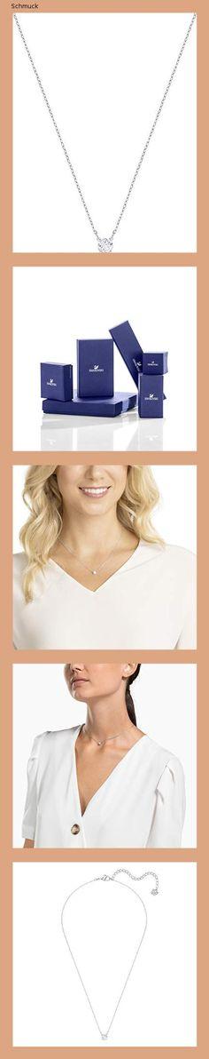 Swarovski Attract Round Halskette, Weiß, Rhodiniert - 14fk