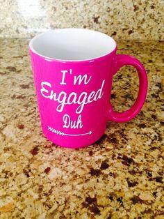 I'm Engaged duh fuchsia color mug engagement by NOLAcraftsbyKT