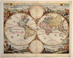 Antique map of World by Stoopendaal