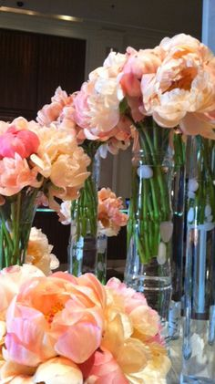 Golden pink peonies. Subtle shades & varieties. Bunches for tables.