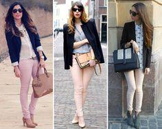 ¿Qué me pongo con un pantalón rosa pastel? Una chaqueta negra. Los zapatos y el bolso son preferibles en color nude o el mismo rosa para alargar la figura. aspeqtto.com
