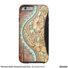 Western Style Turquoise and Tooled Leather Look Tough iPhone 6 Case