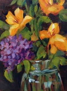 """""""Yellow lilies"""" - Original Fine Art for Sale - © Libby Anderson"""