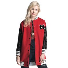 New Women Autumn Baseball Jacket Single Breasted Letters M Print Long Hit Color Jacket Coat