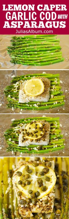 Pacific Cod and Asparagus with Garlic Lemon Caper Sauce baked in foil! Healthy, gluten free, low carb recipe.