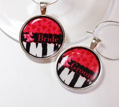 Pretty Bride & Groom wine charms in black, red and pink, $7.50