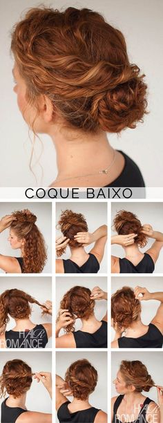 Hair Hair Romance - Curly hair tutorial - Twisted bun hairstyle - click through for full tutorial by roxie Hair Romance Curly, Curly Hair Tips, Curly Up Do, Curly Girl, Curly Hair Easy Updo, Braids For Curly Hair, Wavy Hair, Thick Hair, Curly Frizzy Hair