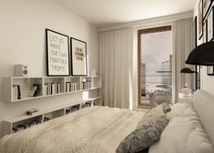small bedroom ideas white furniture wall shelves decorative pillows