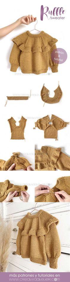 Aprende a Tejer este Bonito Jersey de Punto Con Volante Para Niña a dos agujas. Patrón y Tutorial con imágenes paso a paso gratis. Knitting TechniquesCrochet For BeginnersCrochet BlanketCrochet Ideas Baby Knitting Patterns, Knitting For Kids, Free Knitting, Knitting Projects, Crochet Patterns, Crochet Projects, Crochet Baby, Crochet Bikini, Knit Crochet