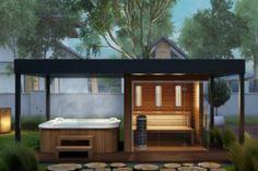 Sauna kopen - Buitensauna - Sauna buiten in de tuin Hot Tub Garden, Hot Tub Backyard, Backyard Patio, Outdoor Sauna, Jacuzzi Outdoor, Outdoor Rooms, Outdoor Living, Sauna House, Gazebo