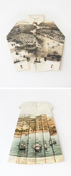 Origami using vintage maps