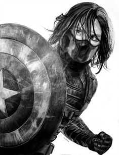 Learn to live with your wounds, cut your hair and go back to your life, my soldier Bucky Barnes: Back to Life Marvel Avengers, Marvel Fan Art, Marvel Heroes, Bucky Barnes, Winter Soldier Wallpaper, Soldier Tattoo, Soldier Drawing, Avengers Drawings, Soldier Costume