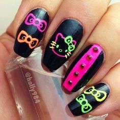 Hello Kitty Neon Nails