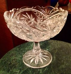 Vintage American Brilliant lead crystal cut pinwheel star pattern glass candy nut dish pedestal compote footed bowl best offer free ship on Etsy, $49.00