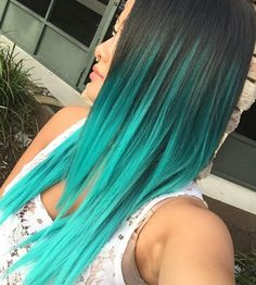 Turquoise blue ombre dyed hair                                                                                                                                                                                 More