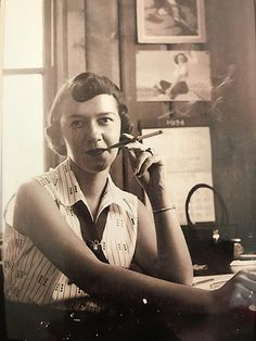 My friends cool grandmother with her classy cigarette holder. 1954 http://ift.tt/2xn5haC