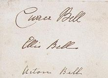 The only surviving signatures of Curer, Ellis and Acton Bell; the pseudonyms of Charlotte, Emily and Anne Bronte.