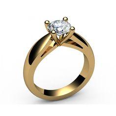 Bar set contour Solitaire Diamond Engagement Ring in 18K Yellow gold (1.00 ct.) - Solitaire Diamond Rings
