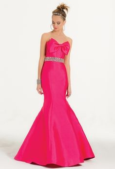Mikado Dress With Bow Bodice and Trumpet Skirt