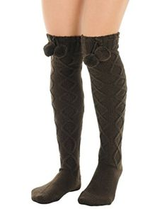 2ba2b35f0bd53 Womens Brown Over the Knee Socks Pom Poms Boot Socks Diamond twist pattern  Review Brown Socks