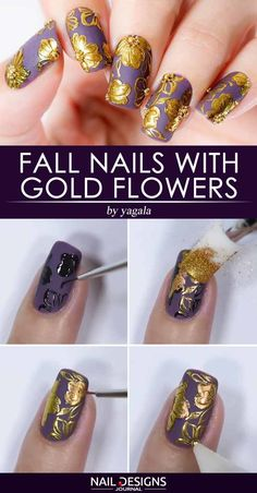 Fall Nails With Gold Flowers ❤ Super Easy Fall Nail Ideas You Should Try This Season ❤ See more ideas on our blog!! #naildesignsjournal #nails #nailart #naildesigns #fallnails #autumnnails #nailtutorials #fallnailsart Fall Acrylic Nails, Autumn Nails, Acrylic Nail Designs, Nail Art Designs, Uv Gel Nails, Gel Nail Art, Diy Nails, Cute Nails, Trendy Nail Art