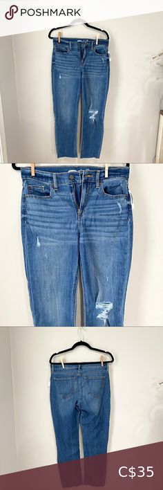 """Old Navy The Power Jean Distressed Frayed Hem Medium wash Ankle Jean Distressed detailing Frayed hem Relaxed fit Waist to ankle length 37"""" Inseam 26"""" Old Navy Jeans Ankle & Cropped Old Navy Rockstar Jeans, Old Navy Jeans, Petite Mom Jeans, Maternity Bodycon Dresses, Polka Dot Jeans, Gymshark Flex Leggings, Old Navy Maternity, Seamless Leggings, Ankle Jeans"""