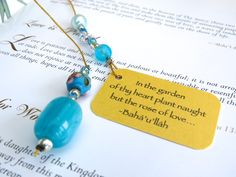 Turquoise beaded bookmark on gold thread with inspiring quotation on gold card, Page book holder, for book lovers, special readers gift by elikamahony on Etsy