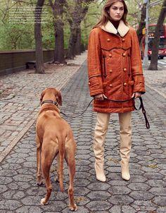 Grace Elizabeth by Terry Richardson for Vogue Paris August 2017 - Chloe leather coat, Francesco Russo leather boots