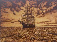 Beautiful pyrography of a boat
