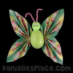 Origami Easter Egg Butterfly Craft for Kids from www.daniellesplace.com