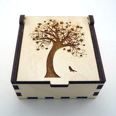 Tree of Life Jewelry Box Wood Trinket Box Small by TheArtofCrystal