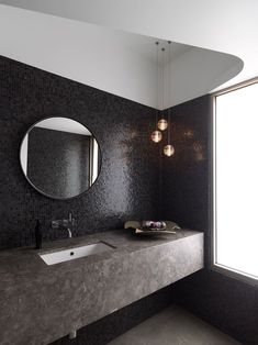Bocci lights in a dramatic bathroom, black mosaic tile, stone counter, by Luigi Rosselli Architects Modern Bathroom Design, Bathroom Interior Design, Home Interior, Best Interior, Bathroom Designs, Bath Design, Design Kitchen, Bad Inspiration, Bathroom Inspiration