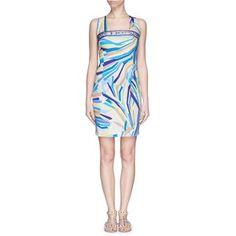 Emilio Pucci Abstract stripe crossback satin dress