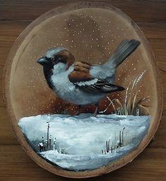 Bird Painting Acrylic, Wooden Painting, Tole Painting, Clown Paintings, Animal Paintings, Arte Naturalista, Sunflower Art, Stone Art, Bird Art