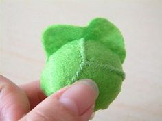 How to make a lovely cabbage? Let's begin. 1. Cut felt for cabbage. 2. Fold the green disc in half, sew from A to B with overhand stitch. 3. Sew as shown in the same way. 4. Turn it over, run…