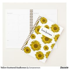 Shop Yellow Scattered Sunflowers Planner created by loraseverson. Personalize it with photos & text or purchase as is! Sunflower Gifts, Yellow Sunflower, Weekly Calendar, Weekly Planner, Create This Book, Planning Your Day, Dog Bowtie, Consumer Products, Work Meetings