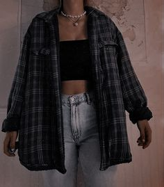 Casual Outfits For Teens, Cute Comfy Outfits, Edgy Outfits, Mode Outfits, Retro Outfits, Flannel Outfits Summer, Casual Clothes, School Outfits, Cute Vintage Outfits