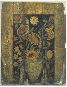 Vase with Flowers (Chimney board), Britain, about 1710, Oil on pine. Given by Mrs Arthur Chamberlain.
