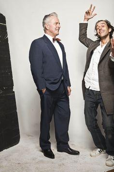 Jochem Albrecht en Huub Stapel fotoshoot 6 okt 2014 voor Televisie serie Goedenavond Dames en Heren iov Omroep MAX
