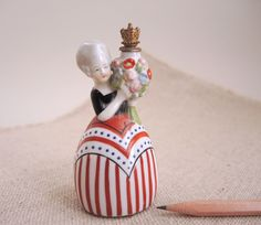 Vintage German Crown Top Perfume Bottle Porcelain Lady Figurine Germany Figural