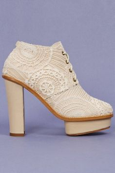 Chantal platform bootie in cream lace by Opening Ceremony, $765