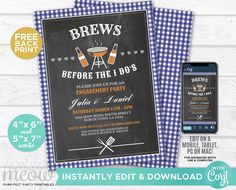 Brews Before The I Dos Engagement Party Couples Shower Invitation BBQ Blue Check Navy Invite Download Personalize Editable Printable WCWE007 Printing Websites, Printing Services, Online Printing, Couples Shower Invitations, Engagement Party Invitations, Couple Shower, Photo Logo, Wow Products, Letter Size