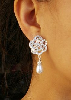 Pearl and Crystal Earrings, Rhinestone Rose Bridal Jewelry, ROSE Collection from Etsy