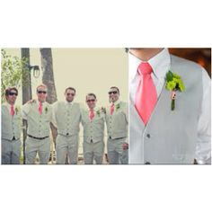 Gray  coral wedding colors. We love the look of the groomsmen without jackets. Especially for a summer wedding!
